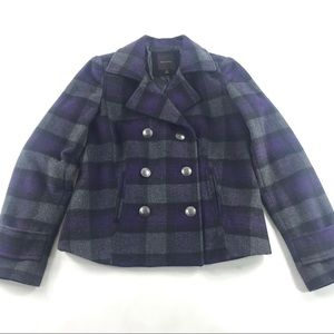The Limited Plaid Wool Double Breasted Peacoat